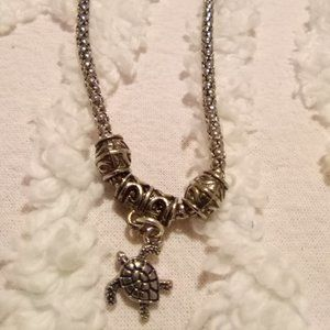 Silver Tone Snake Chain with Sea Turtle Pendant